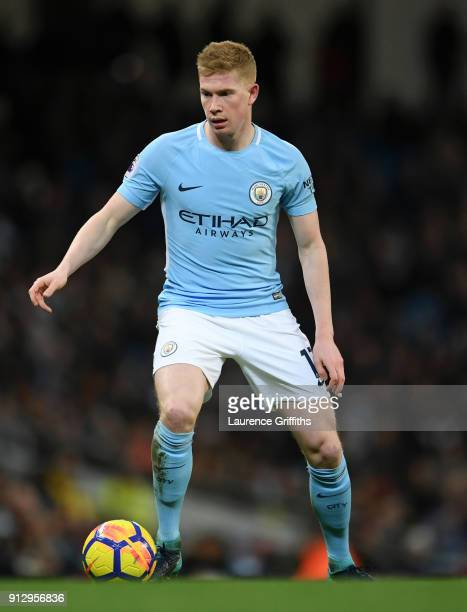 Kevin De Bruyne of Manchester City on the ball during the Premier League match between Manchester City and West Bromwich Albion at Etihad Stadium on...
