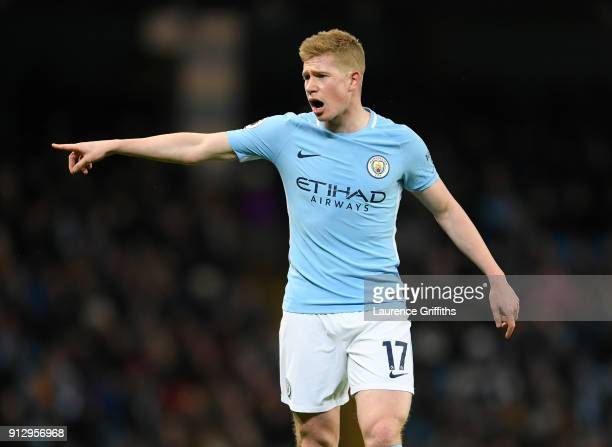 Kevin De Bruyne of Manchester City points during the Premier League match between Manchester City and West Bromwich Albion at Etihad Stadium on...