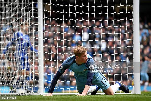 Kevin De Bruyne of Manchester City reacts after missing a chance during the Premier League match between Manchester City and Chelsea at Etihad...