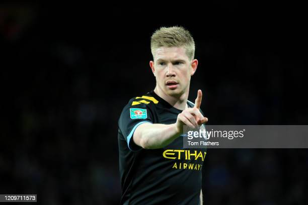 Kevin De Bruyne of Manchester City reacts during the Carabao Cup Final between Aston Villa and Manchester City at Wembley Stadium on March 01 2020 in...
