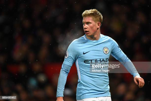 Kevin De Bruyne of Manchester City reacts during the Premier League match between Manchester United and Manchester City at Old Trafford on December...