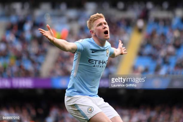 Kevin De Bruyne of Manchester City reacts during the Premier League match between Manchester City and Swansea City at Etihad Stadium on April 22 2018...