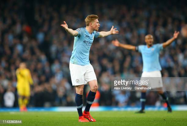 Kevin de Bruyne of Manchester City reacts during the UEFA Champions League Quarter Final second leg match between Manchester City and Tottenham...