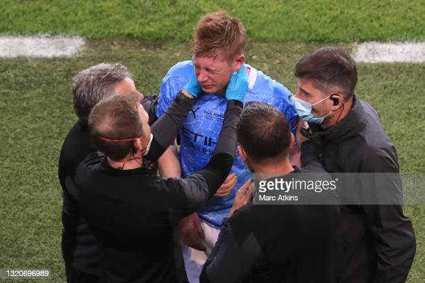 Kevin De Bruyne of Manchester City receives medical treatment after being substituted off due to injury during the UEFA Champions League Final...