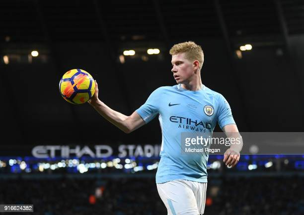 Kevin De Bruyne of Manchester City retrieves the ball during the Premier League match between Manchester City and Leicester City at Etihad Stadium on...