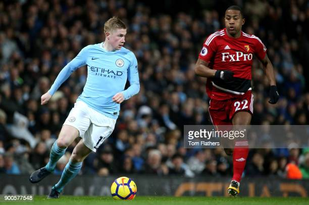 Kevin De Bruyne of Manchester City runs with the ball during the Premier League match between Manchester City and Watford at Etihad Stadium on...