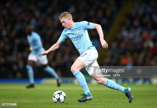 Kevin De Bruyne of Manchester City runs with the ball during the UEFA Champions League group F match between Manchester City and Feyenoord at Etihad...