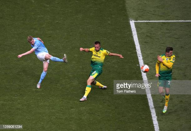 Kevin De Bruyne of Manchester City scores his sides second goal during the Premier League match between Manchester City and Norwich City at Etihad...