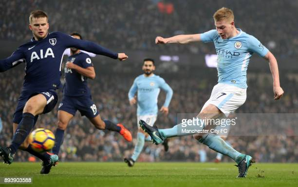 Kevin De Bruyne of Manchester City scores his sides second goal during the Premier League match between Manchester City and Tottenham Hotspur at...