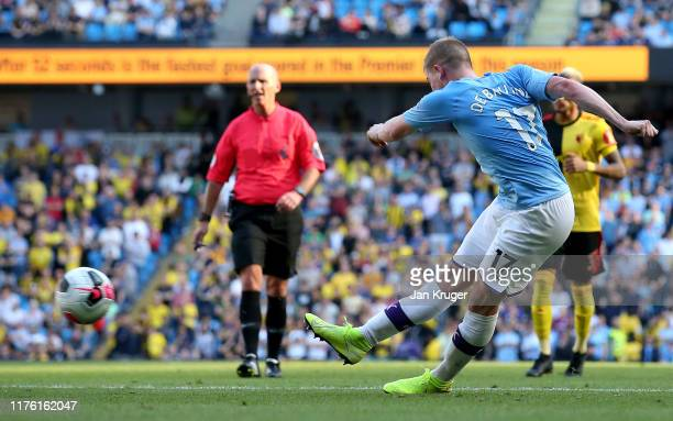 Kevin De Bruyne of Manchester City scores his team's eighth goal during the Premier League match between Manchester City and Watford FC at Etihad...