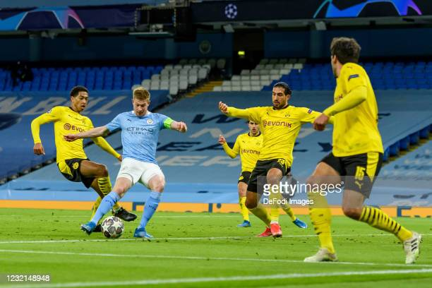 Kevin De Bruyne of Manchester City scores his team's first goal during the UEFA Champions League Quarter Final match between Manchester City and...