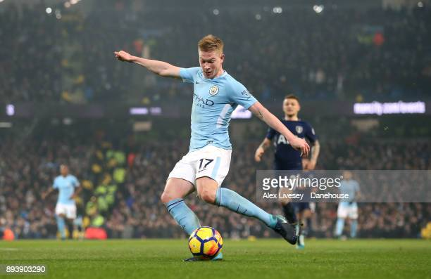 Kevin De Bruyne of Manchester City scores the second goal during the Premier League match between Manchester City and Tottenham Hotspur at Etihad...