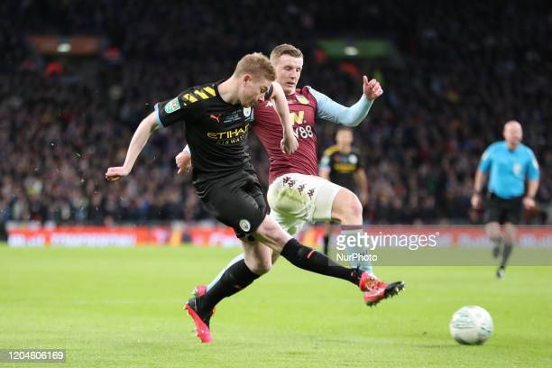 Kevin De Bruyne of Manchester City shoots at goal during the Carabao Cup Final between Aston Villa and Manchester City at Wembley Stadium London on...