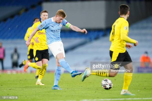 Kevin De Bruyne of Manchester City shoots during the UEFA Champions League Quarter Final match between Manchester City and Borussia Dortmund at...