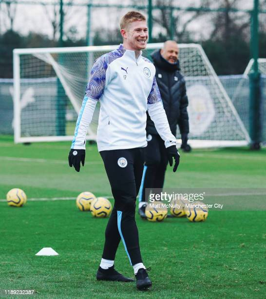 Kevin de Bruyne of Manchester City smiles during the training session at Manchester City Football Academy on November 21 2019 in Manchester England