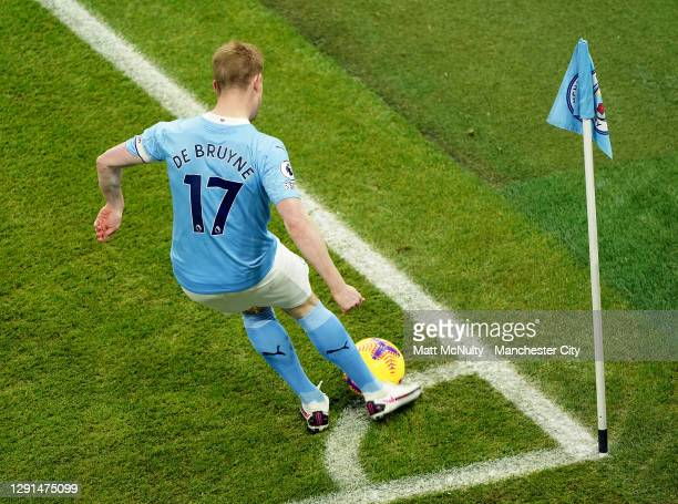 Kevin de Bruyne of Manchester City takes a corner during the Premier League match between Manchester City and West Bromwich Albion at Etihad Stadium...
