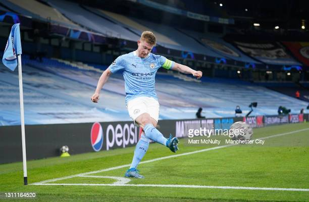 Kevin De Bruyne of Manchester City takes a corner during the UEFA Champions League Quarter Final match between Manchester City and Borussia Dortmund...