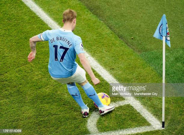 Kevin de Bruyne of Manchester City takes a corner kick during the Premier League match between Manchester City and West Bromwich Albion at Etihad...