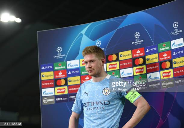 Kevin De Bruyne of Manchester City talks to the media following the UEFA Champions League Quarter Final match between Manchester City and Borussia...