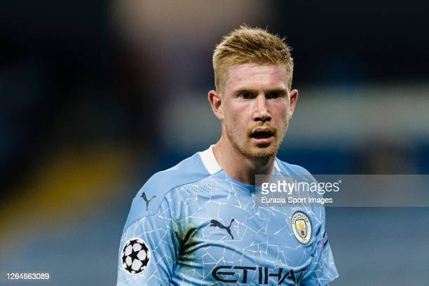Kevin De Bruyne of Manchester City walks in the field during the UEFA Champions League round of 16 second leg match between Manchester City and Real...