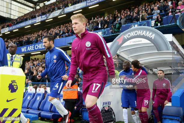 Kevin De Bruyne of Manchester City walks out prior to the Premier League match between Chelsea and Manchester City at Stamford Bridge on September 30...
