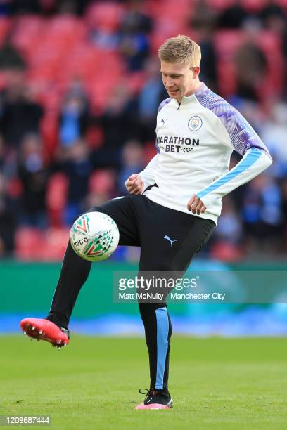 Kevin De Bruyne of Manchester City warms up prior to the Carabao Cup Final between Aston Villa and Manchester City at Wembley Stadium on March 01...