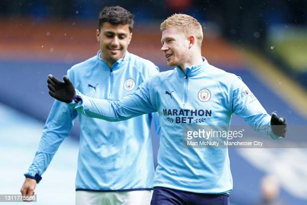 Kevin De Bruyne of Manchester City warms up prior to the Premier League match between Manchester City and Leeds United at Etihad Stadium on April 10,...