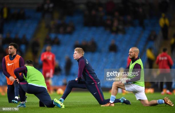 Kevin De Bruyne of Manchester City warms up prior to the Premier League match between Manchester City and Watford at Etihad Stadium on January 2 2018...