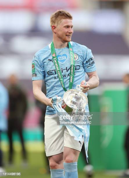Kevin De Bruyne of Manchester City with the Carabao Cup during the Carabao Cup final match between Manchester City and Tottenham Hotspur at Wembley...