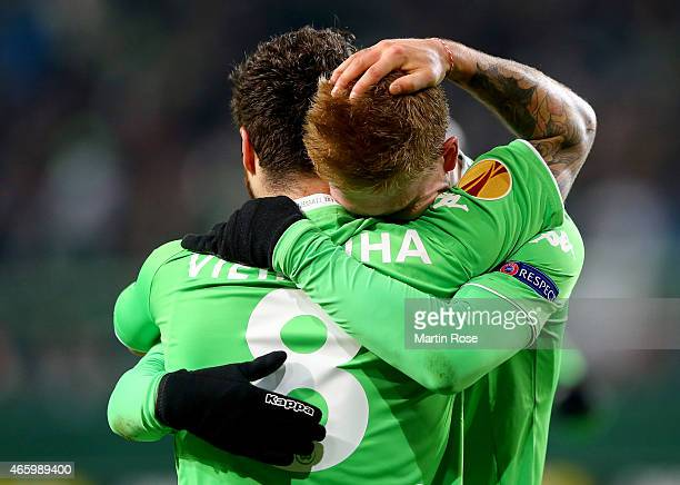 Kevin de Bruyne of VfL Wolfsburg celebrates after scoring the 2nd goal during the UEFA Europa League Round of 16 first leg match between VfL...