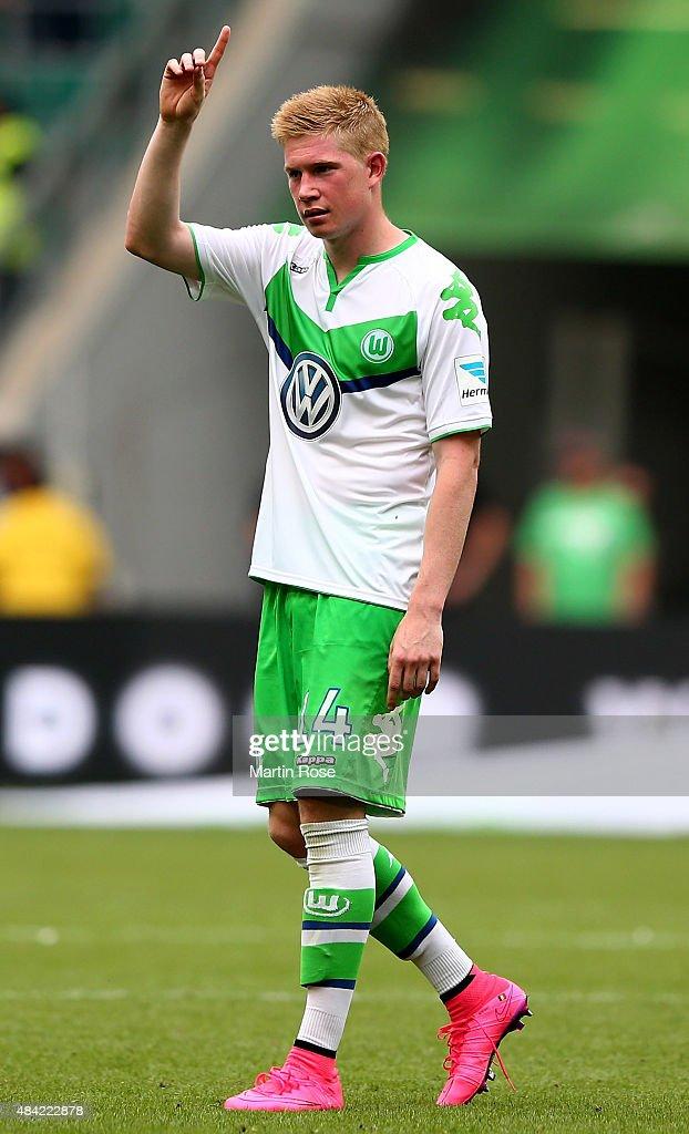Kevin De Bruyne of VfL Wolfsburg gestures after winning the Bundesliga match between VfL Wolfsburg and Eintracht Frankfurt at Volkswagen Arena on August 16, 2015 in Wolfsburg, Germany.