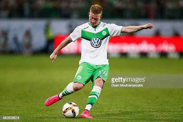 Kevin De Bruyne of VfL Wolfsburg in action during the DFL Supercup match between VfL Wolfsburg and FC Bayern Muenchen at Volkswagen Arena on August 1...