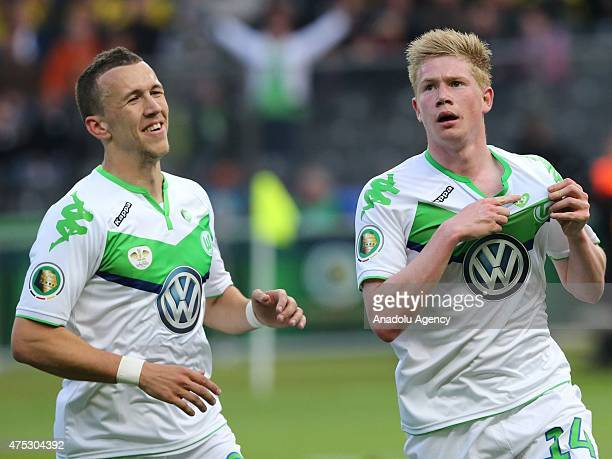 Kevin De Bruyne of Wolfsburg celebrates after scoring a goal during the DFB Cup Final match between Borussia Dortmund and VfL Wolfsburg at...
