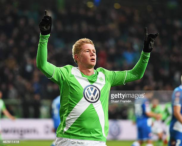 Kevin De Bruyne of Wolfsburg celebrates scoring his goal during the Bundesliga match between VfL Wolfsburg and 1899 Hoffenheim at Volkswagen Arena on...