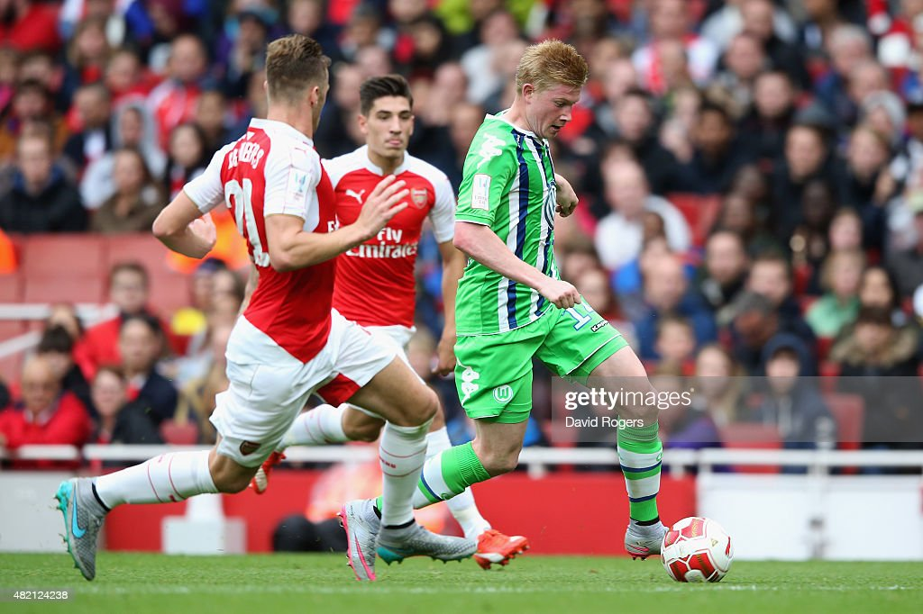 Kevin de Bruyne of Wolfsburg runs with the ball during the Emirates Cup match between Arsenal and VfL Wolfsburg at the Emirates Stadium on July 26, 2015 in London, England.