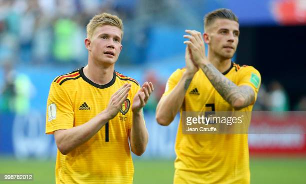 Kevin De Bruyne Toby Alderweireld of Belgium celebrate the victory following the 2018 FIFA World Cup Russia 3rd Place Playoff match between Belgium...