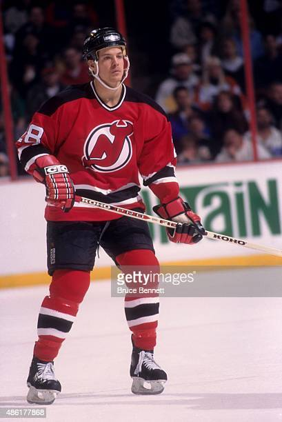 Kevin Dean of the New Jersey Devils skates on the ice during an NHL game against the Philadelphia Flyers on November 12 1995 at the Spectrum in...