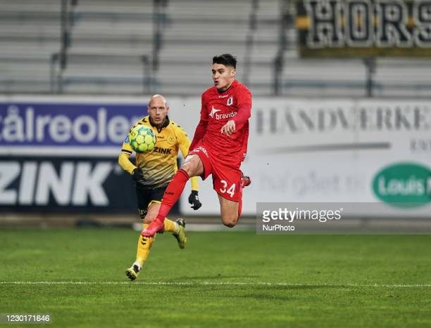 Kevin Diks of Aarhus GF during the Superliga match between AC Horsens versus Aarhus GF at Casa Arena Horsens , Horsens, Denmark on December 13, 2020.