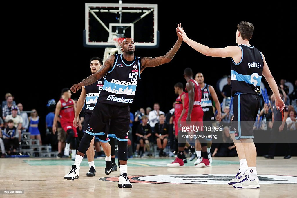 Kevin Dillard and Kirk Penney of the Breakers celebrate during the round 16 NBL match between the New Zealand Breakers and the Perth Wildcats at Vector Arena on January 22, 2017 in Auckland, New Zealand.