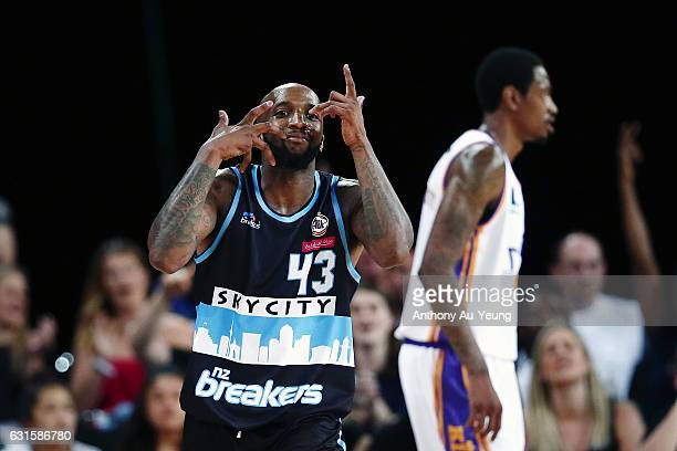 Kevin Dillard of the Breakers celebrates a three pointer during the round 15 NBL match between the New Zealand Breakers and the Sydney Kings at...