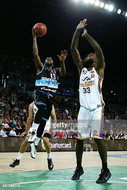 Kevin Dillard of the Breakers goes up against Josh Powell of the Kings during the round 15 NBL match between the New Zealand Breakers and the Sydney...