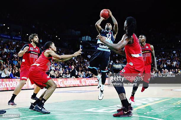Kevin Dillard of the Breakers takes a shot in the lane during the round 16 NBL match between the New Zealand Breakers and the Perth Wildcats at...