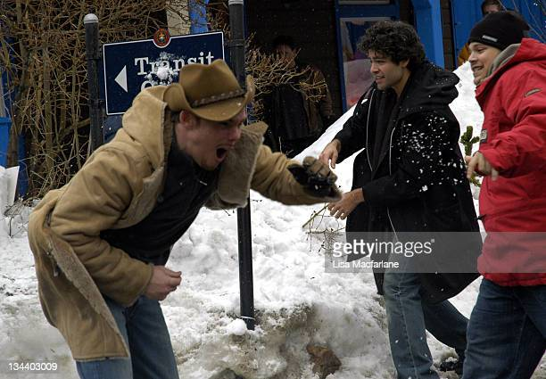 Kevin Dillon Adrian Grenier and Jerry Ferrara during 2005 Sundance Film Festival Taping of Entourage January 27 2005 at Main Street in Park City Utah...
