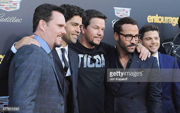 Kevin Dillon Adrian Grenier Mark Wahlberg and Jeremy Piven attend at the Los Angeles Premiere Entourage at Regency Village Theatre on June 1 2015 in...