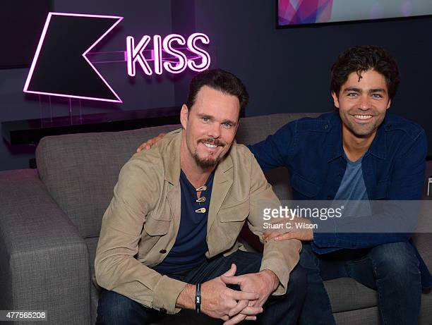 Kevin Dillon and Adrian Grenier from the cast of Entourage visit Kiss FM Studio's on June 10, 2015 in London, England.