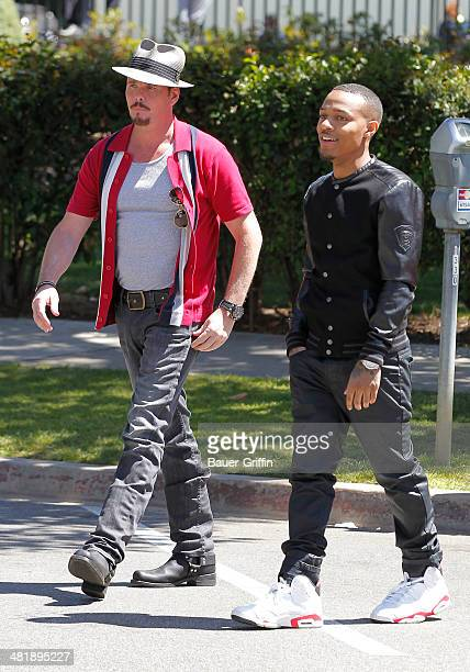 Kevin Dillon and Bow Wow are seen filming a scene for the 'Entourage' movie in Beverly Hills on April 01 2014 in Los Angeles California
