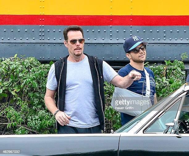 Kevin Dillon and Jerry Ferrara are seen on the set of 'Entourage' on February 07 2015 in Los Angeles California
