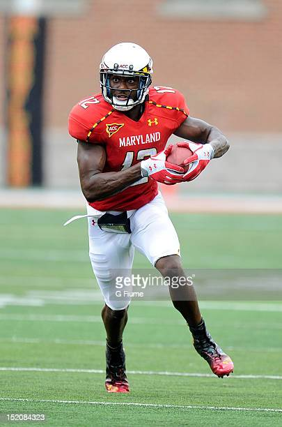 Kevin Dorsey of the Maryland Terrapins runs with the ball against the William Mary Tribe at Byrd Stadium on September 1 2012 in College Park Maryland