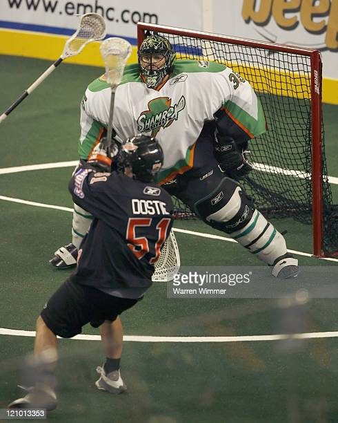 Kevin Dostie of the Bandits puts a shot on net during game action at the Sears Centre Hoffman Estates IL where the Buffalo Bandits defeated the...