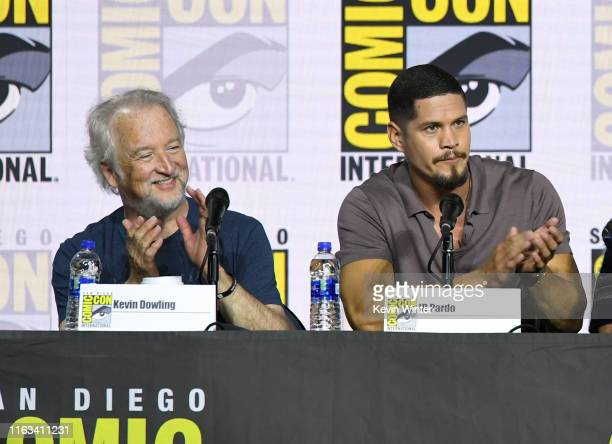 Kevin Dowling and JD Pardo speak at the Mayans MC Discussion and QA during 2019 ComicCon International at San Diego Convention Center on July 21 2019...